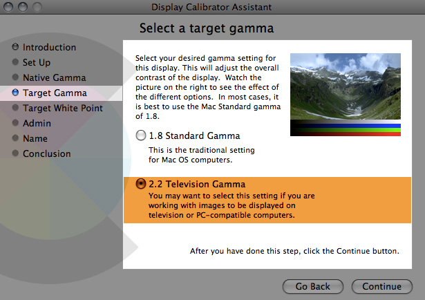 screenshot of gamma settings