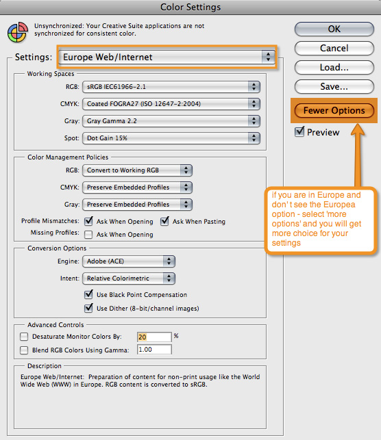 screenshot of photoshop settings