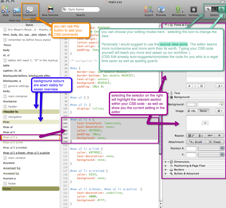 screenshot of source view in the code editing window