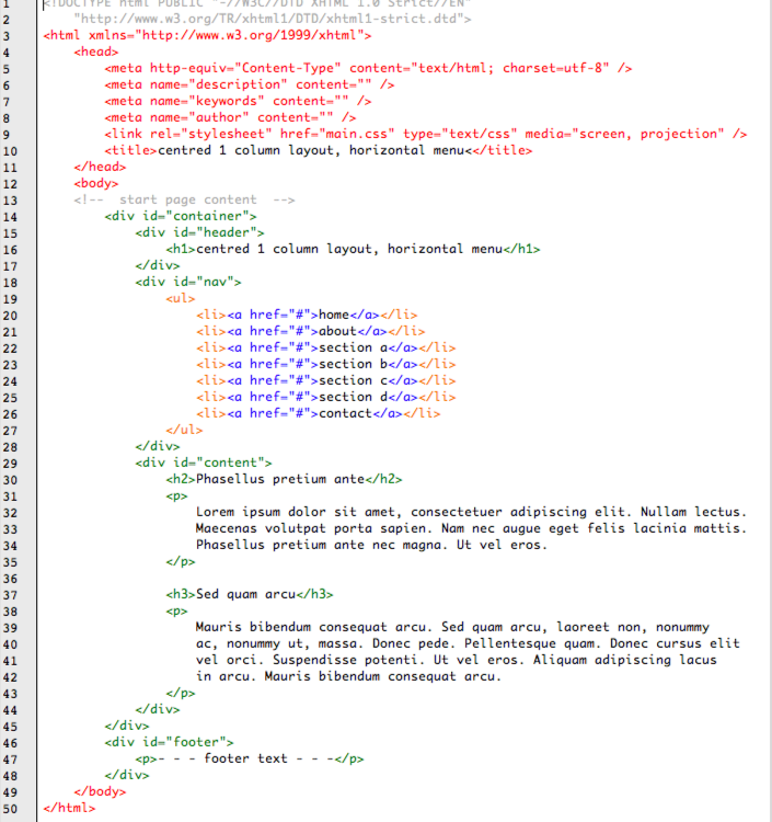 screenshot of HTML code