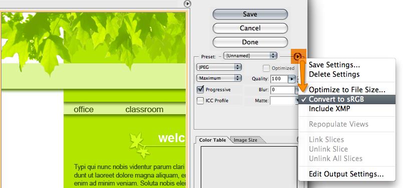 sRGB settings screenshot